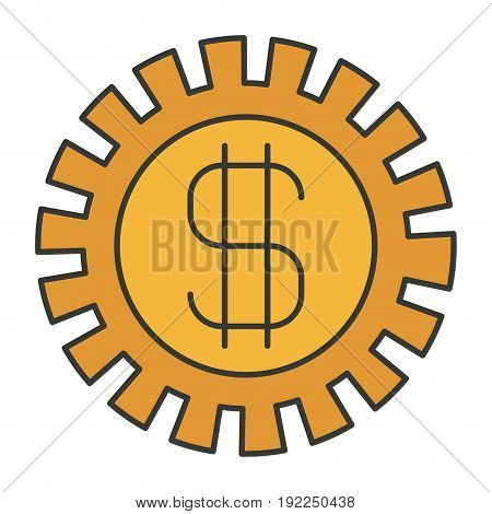 colorful silhouette of pinion with money symbol vector illustration