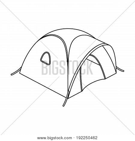 Tent tourist with awning.Tent single icon in outline style vector symbol stock illustration .