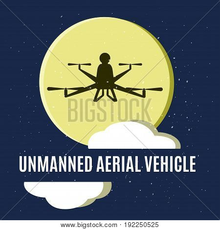 Vector illustration of dark quadrocopter sulhouette on big yellow moon and nignt sky background.  Unmanned aerial vehicle. Concept for air drone sport, advertising, invitation card or blogs.