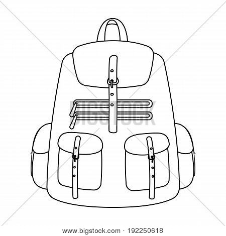 A backpack for things.Tent single icon in outline style vector symbol stock illustration .