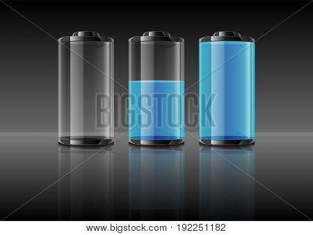 Blue Battery Vector Illustration On Gradient Grey Background