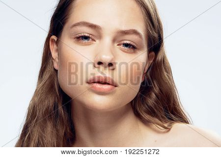 Portrait, beauty, estesstvennost, young woman, girl on a white background.