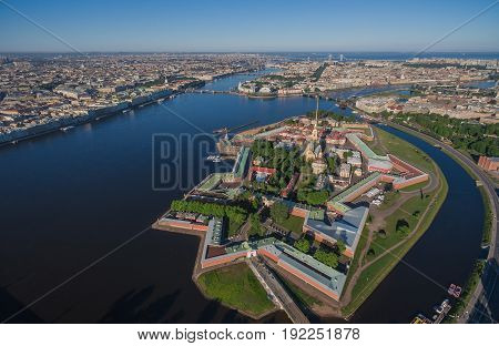 Aerial view of Peter and Paul Fortress in Saint-Petersburg