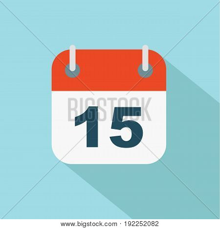 Flat calendar icon. Number 15. Date and time background. Vector stock.