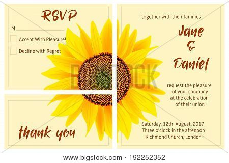 set of wedding invitation card, sunflower on the background. 3 in 1 poster, invitation, greeting, business card. For decoration, packing, wrapping prints