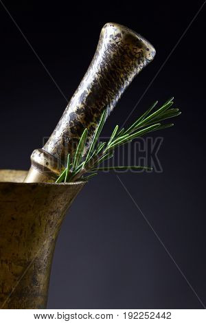 Old Copper Mortar With Rosemary