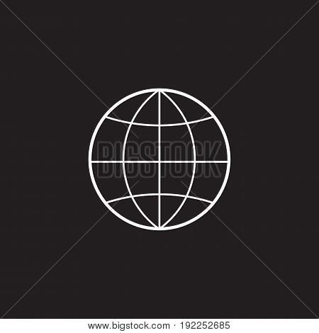 Globe line icon, outline vector illustration, linear pictogram isolated on black