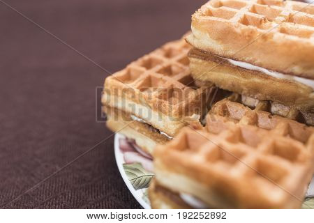 Delicious Viennese waffles with a cream filling lie on a saucer with a floral pattern on the right side of the frame on a dark brown background
