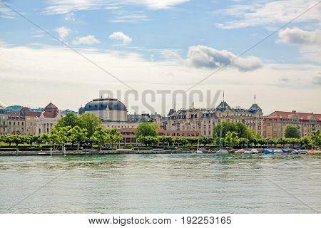 Opera house at Limmat River Quay Lake Zuerich in Zurich Switzerland