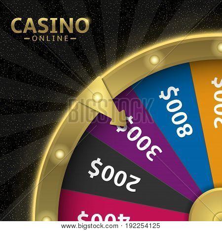 Golden wheel of fortune. Casino online, vector illustration
