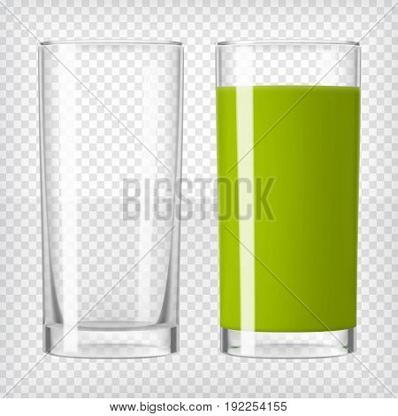 Green smoothie juice and an empty glass. Fruit or vegetable organic drink. Healthy diet. Clean eating. Tall glass with beverage. Transparent photo realistic vector illustration.