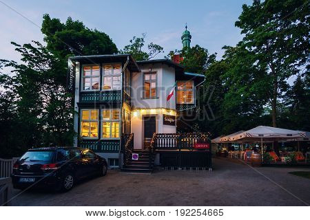 Sopot Poland - June 10 2017: Sempre restaurant on the shore of Baltic sea at night