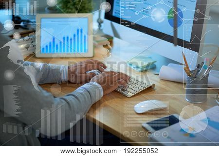 Close-up shot of financial manager sitting in front of computer and preparing annual accounts, collage