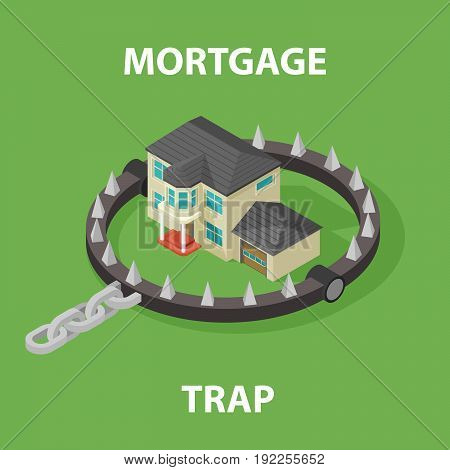 Isometric Mortgage House In Bear Trap. 3D illustration isolated on white background