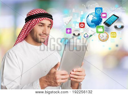 Man handsome arab arabian tablet pc computer background