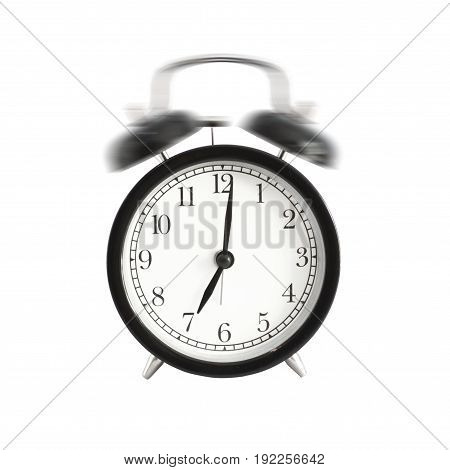 Alarm clock ringing isolated. Alarm clock setting at 7 AM or PM. Abstract time.