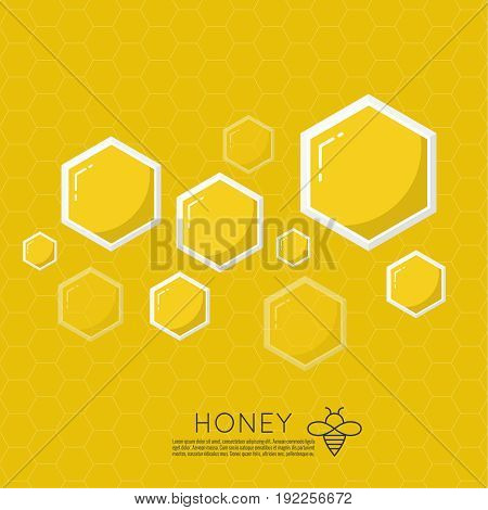 Vector icon honeycomb. Abstract background with yellow honey comb. Hexagon and drop. Iisolated illustration. Contemporary modern style design. Flying honeybee. Bee insect.