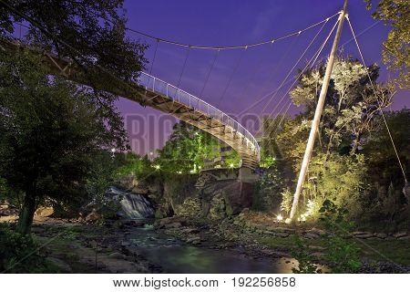 Liberty Bridge and Waterfall Falls Park Greenville, Night