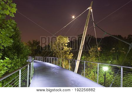 Liberty Bridge At Falls Park Greenville, Night
