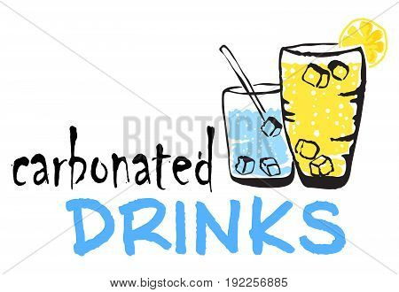 Carbonated Drinks sticker. Vector illustration in watercolor style for graphic and web design