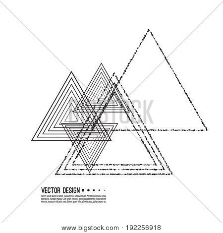 Vector Hipster Triangle Background. Pattern. Abstract modern Geometrical Template.  Black and white design t-shirts. Monochrome contemporary illustration.