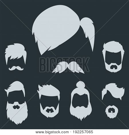 Vector set of hipster retro hair style mustache vintage old shave male facial beard haircut isolated illustration. Curly face collection fashion barber hairstyle design.