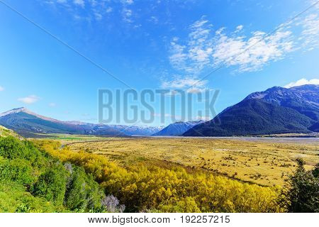 Beautiful scenery of Arthur's pass National Park in Autumn South Island of New Zealand