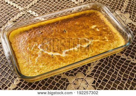 Brazilian traditional dessert called Ambrosia. Gourmet food.