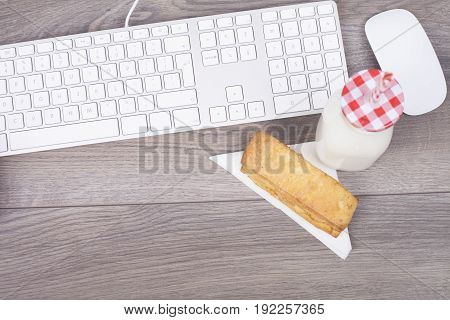 Work Desk With Keypad And Breakfast