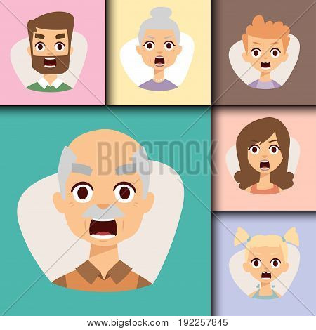 Vector set angry emoticons face of people fear shock surprise avatars. Set of cartoon human head person character different sexes sadness confused depression.