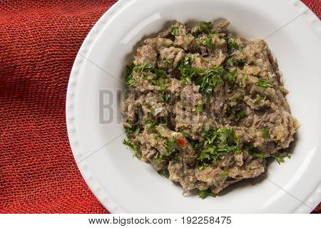 Shredded Beef Rib In The White Plate