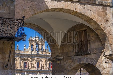 Clock Tower In Plaza Mayor Of Salamanca, Spain. Exterior Image Shot From Public Floor.