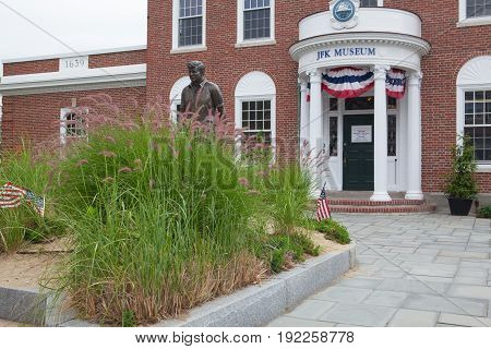 Boston Massachusetts USA - July 12 2016: The John F. Kennedy Hyannis Museum is a historical museum located at 397 Main Street Hyannis Massachusetts.