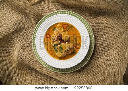 Mocoto Brazilian Dish Made From Cow's Feet, Stewed With Beans And Vegetables
