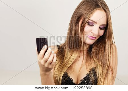 Woman Attractive Girl Looking In Mirror