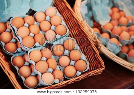 Fresh Eggs On Farmer Market In Paris, France