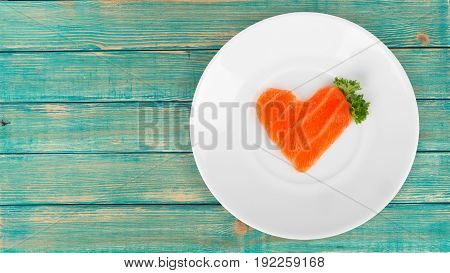 Shape slice heart salmon healthy food sea food color