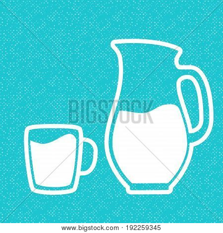 Milk symbol. Cup with milk and jar. Silhouettes on blue textured background. Concept idea for diary, Cattle farm. For logo, tag, banner, advertising, prints, design element, label