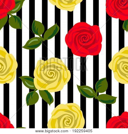 Seamless pattern with red and yellow rose flowers on black stripes. Vector illustration. Summer print. For textile, decoration, packing, wrapping