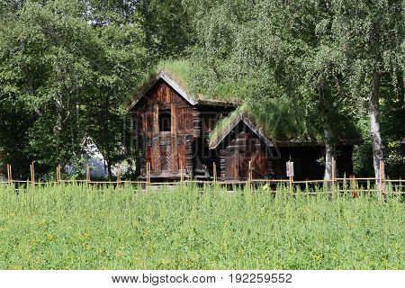 Traditional ancient wooden buildings Norway Scandinavia Northern Europe