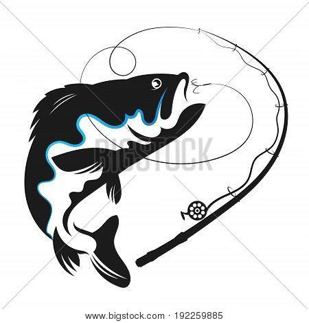 Fish swallows bait vector for fishing illustration