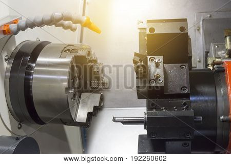 CNC lathe machine or Turning machine show the spindle and turret.Hi technology manufacturing