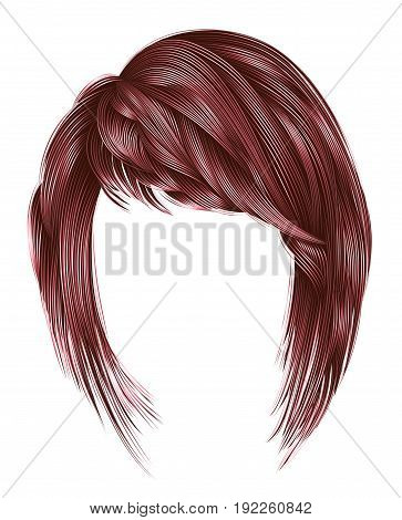 trendy woman hairs kare with fringe . copper pink colors . medium length . beauty style . realistic 3d .