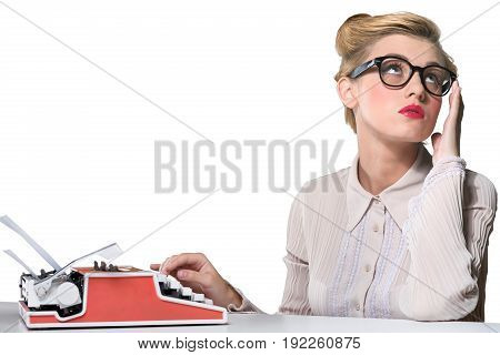 Vintage woman working typewriter color background person
