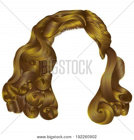 trendy woman short hairs bright yellow colors . fringe. fashion beauty retro style . realistic 3d .