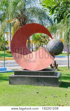 Red Sculpture In Front Of The City Hall Of Porto Velho