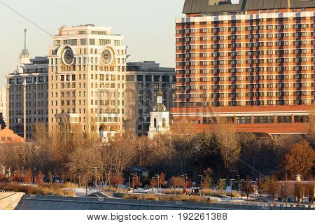 Panorama of one of the central districts of Moscow: the Crimean embankment and park