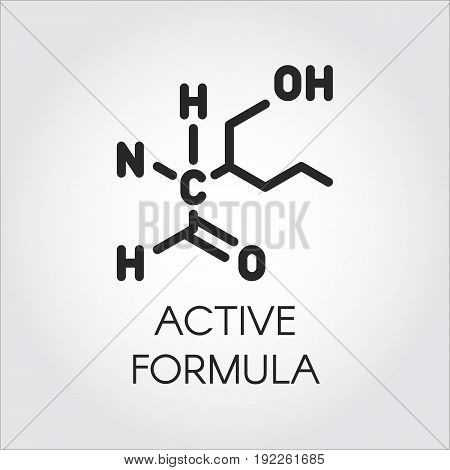 Icon in linear style of active formula concept. Medicine, science, biology, chemistry theme. Vector black contour label for different projects