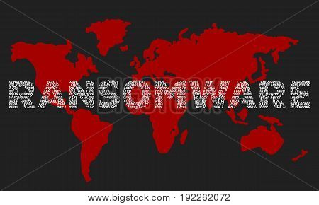 The word ransomware composed of the names of viruses on the background of the red world map. Dark background.