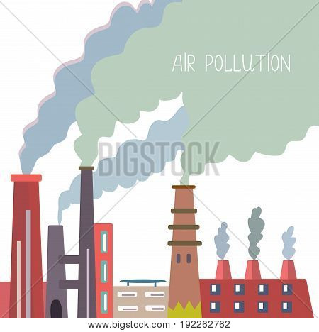 Air pollution background with pipes and smoke vector graphic illustration